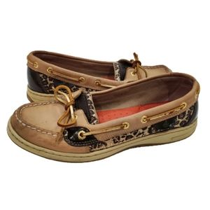 Sperry Sparkly Leopard Leather Top Sider Loafers